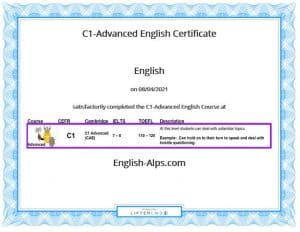 C1-Advanced English Course Completion Certificate