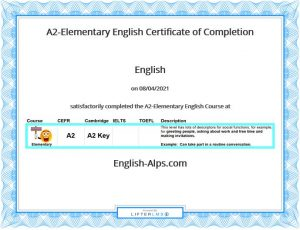 A2-Elementary English Certificate