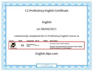 C2-Proficiency English Certificate of Course Completion